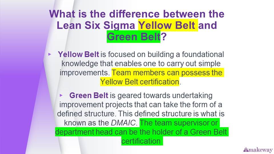 difference between six sigma yellow belt and green belt